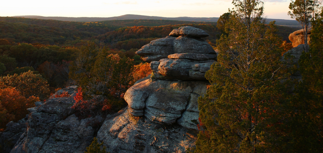 The Garden of the Gods in Shawnee National Forest is one of the legitimate places to climb in Illinois.