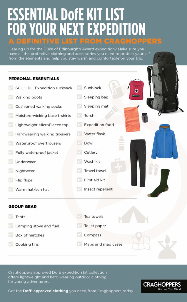 DofE Expedition Kit List from Craghoppers